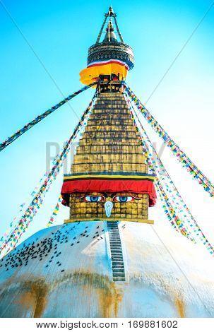 Buddhist stupa in Kathmandu Nepal. Religion concept.