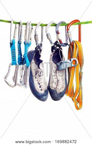 Climbing gear isolated on the white background. Climbing sport concept.