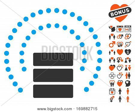 Database Sphere Shield pictograph with bonus decoration icon set. Vector illustration style is flat iconic elements for web design app user interfaces.