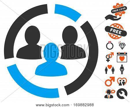 Demography Diagram icon with bonus decorative symbols. Vector illustration style is flat iconic elements for web design app user interfaces.