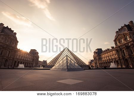 Paris, France - October 2016. Louvre Museum. Famous Historical Art Landmark In Europe. Romantic, Tou