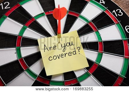 Red Arrow Hitting On The Yellow Note Showing Are You Ready Concept On Dartboard