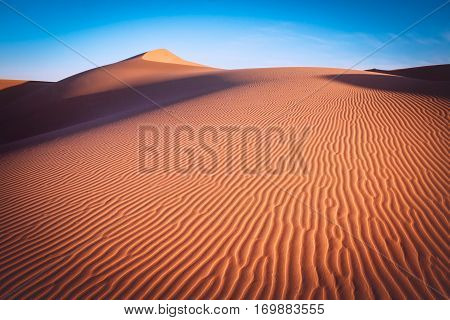 Beautiful sand dunes in the Sahara desert. Morocco Africa