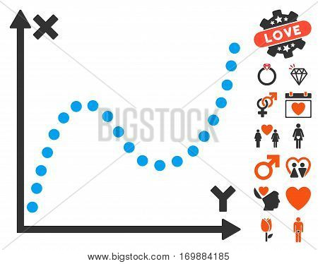 Dotted Plot pictograph with bonus decorative clip art. Vector illustration style is flat iconic elements for web design app user interfaces.