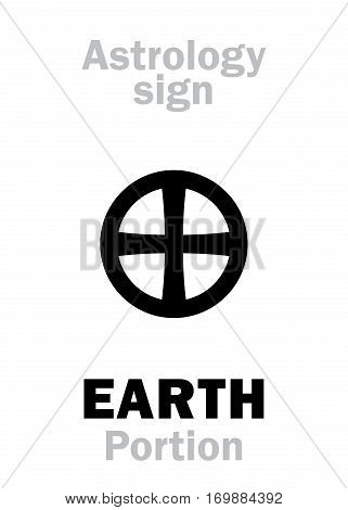 Astrology Alphabet: Sign of EARTH (Portion or Pars Terrae). Hieroglyphics character sign (single symbol).