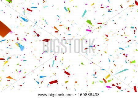 Computer generated image of colorful confetti falling n front of a white background - e.g. as a carnival, party, disco and/or celebration background
