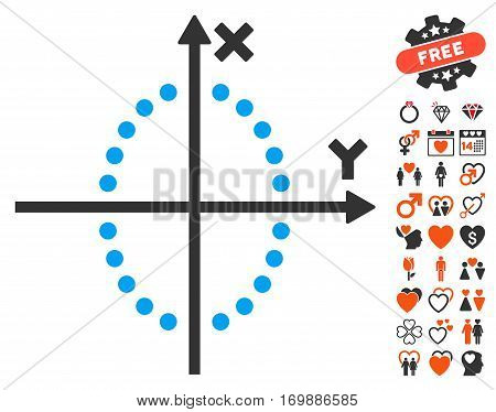 Ellipse Plot pictograph with bonus marriage graphic icons. Vector illustration style is flat iconic elements for web design app user interfaces.