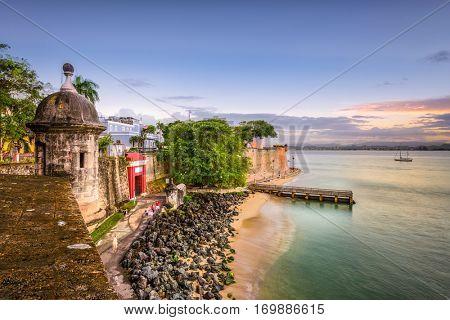 San Juan, Puerto Rico Caribbean coast along Paseo de la Princesa.
