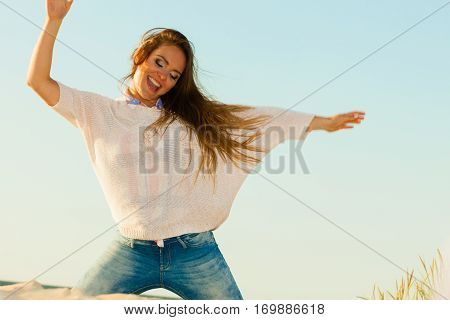 Young Joyful Girl On Beach.
