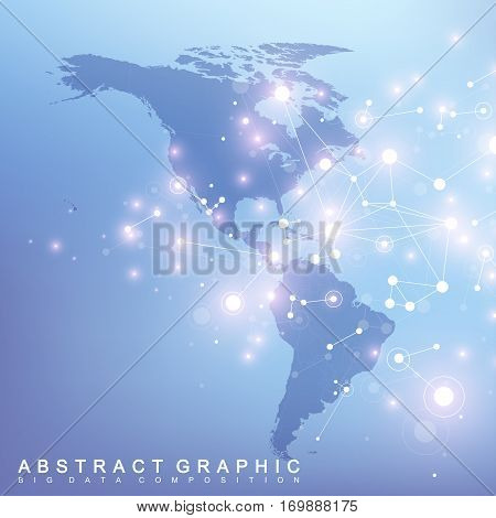 Geometric graphic background communication with North and South America map. Big data complex with compounds. Minimal array. Digital data visualization. Scientific cybernetic vector illustration