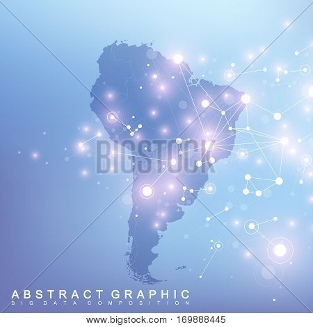 Geometric graphic background communication with South America map. Big data complex with compounds. Minimal array. Digital data visualization. Scientific cybernetic vector illustration