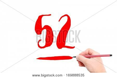 The number 52 written by a hand on a white background