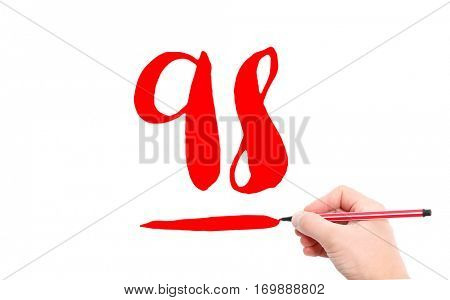 The number 98 written by a hand on a white background