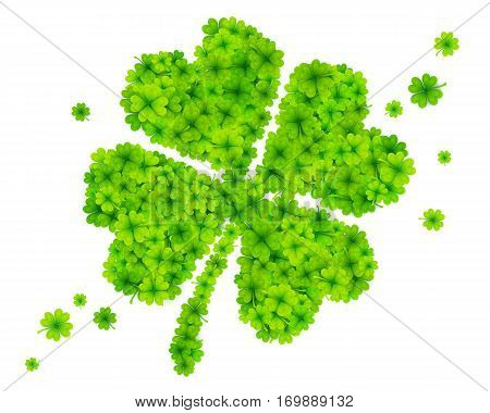 Green vector four-leaf clover made from little clovers