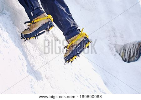 Ice climbing an attractive route. Climbing concept