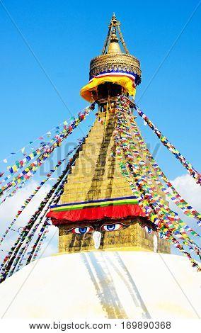 Tibetan flags in Boudhanath Stupa Nepal, Kathmandu