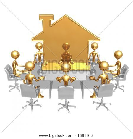 Realty Meeting With Golden Home Symbol