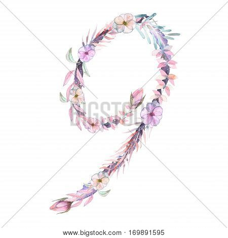 Number ''9'' of watercolor pink and purple flowers, isolated hand drawn on a white background, wedding design, festive and wedding decor and cards