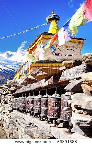 Boudhanath Stupa in the Kathmandu valley Nepal. Buddhism concept