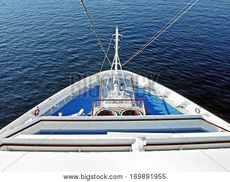 Bow of a large cruise ship at sea