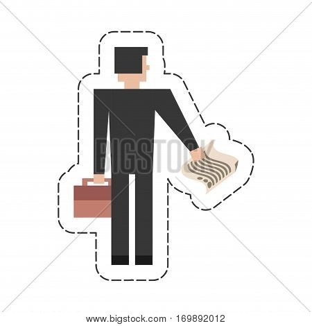 businessman with suitcase documents icon, vector illustration image