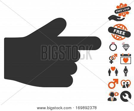 Index Finger icon with bonus romantic pictograms. Vector illustration style is flat iconic elements for web design app user interfaces.