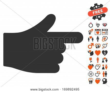 Index Hand pictograph with bonus marriage clip art. Vector illustration style is flat iconic elements for web design app user interfaces.