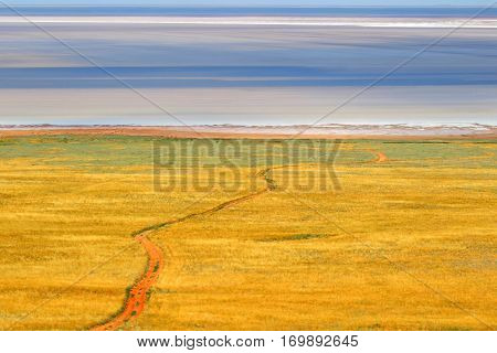 Salt lake Baskunchak.Steppe.Salt Extraction.Landscape.The picturesque landscape of steppe lakes in the summer heat.