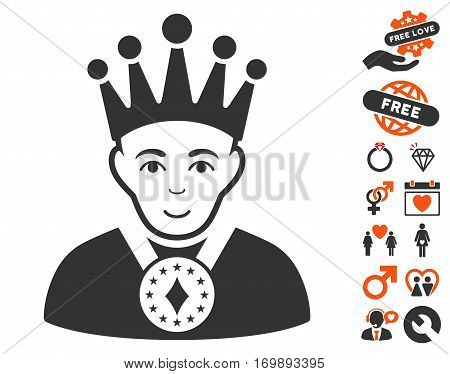 King icon with bonus marriage icon set. Vector illustration style is flat iconic symbols for web design app user interfaces.