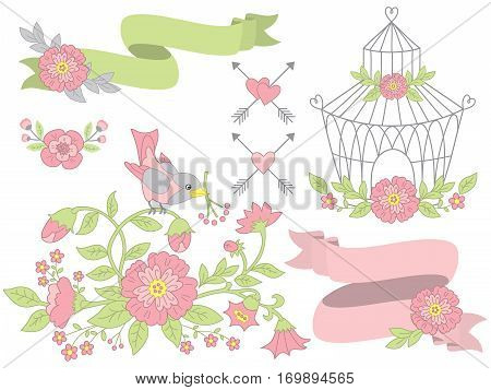 Vector floral set with bird, bird cage, flowers and ribbon