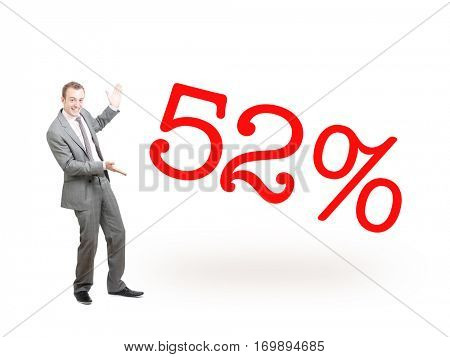 A businessman proudly presenting 52%