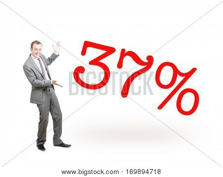 A businessman proudly presenting 37%