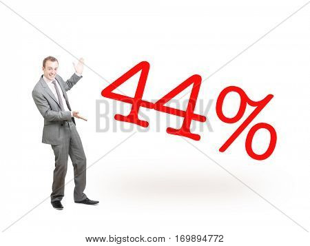 A businessman proudly presenting 44%