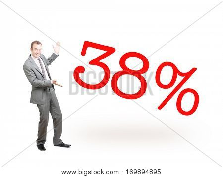 A businessman proudly presenting 38%