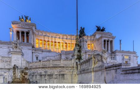 National Monument to Victor Emmanuel II, Altar of the Fatherland, Altare della Patria, by night in Rome, Italy