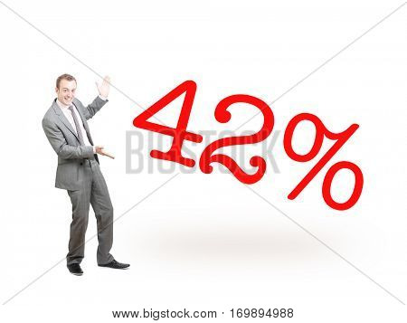 A businessman proudly presenting 42%