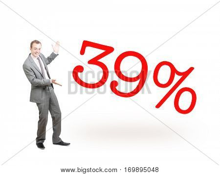 A businessman proudly presenting 39%
