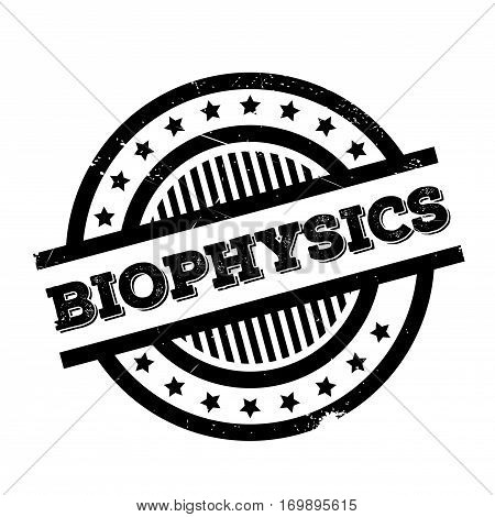 Biophysics rubber stamp. Grunge design with dust scratches. Effects can be easily removed for a clean, crisp look. Color is easily changed.
