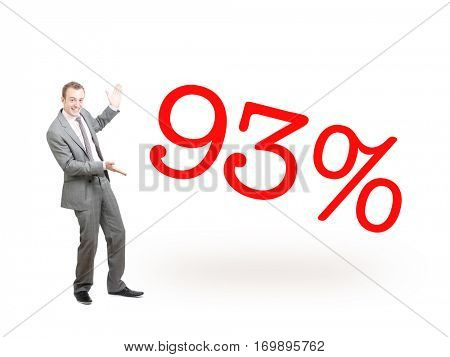 A businessman proudly presenting 93%