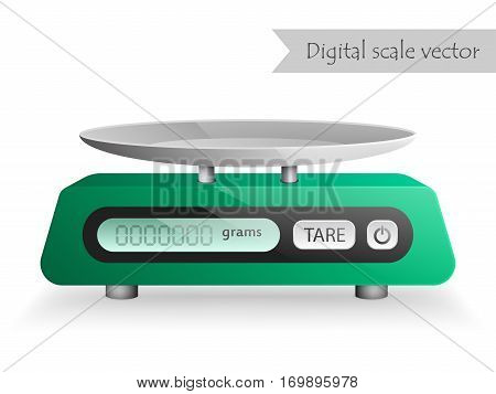 Green digital kitchen scale vector isolated on white background