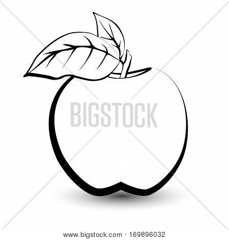 Outline sketch monochrome apple. Black and white elegant contour of the fruit. Drawing for coloring and design packaging for juices diet food.