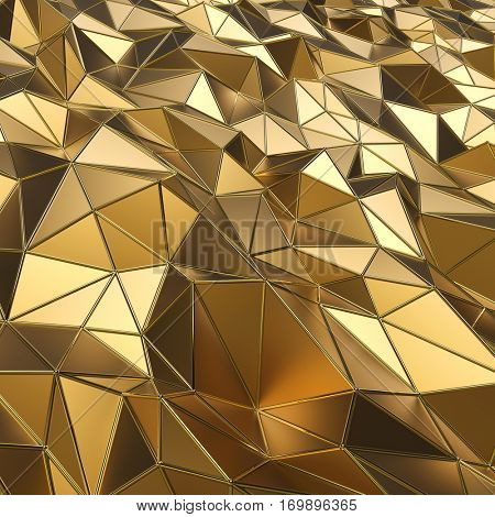 Abstract gold polygons 3D rendering background.