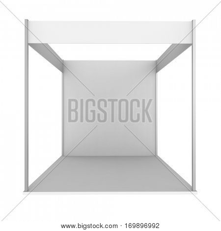 Blank exhibition stand isolated on white background. 3D rendering.
