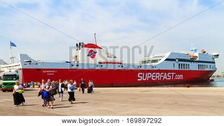 A ferry boat in the Mediterranean from Corfu in Greece to Bari in Italy May 2014.