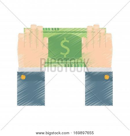 hands with bill money related icon, vector illustration