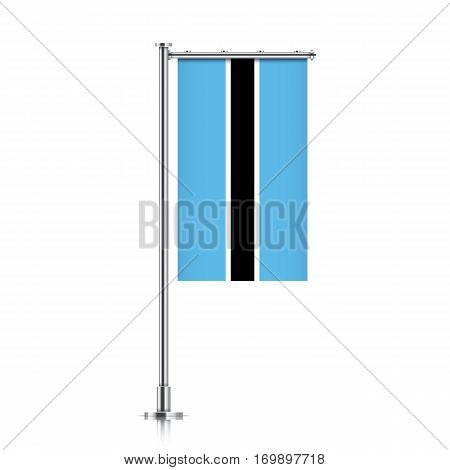 Botswana vector banner flag hanging on a silver metallic pole. Vertical Botswana flag template isolated on a white background.