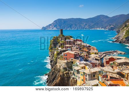 Vernazza One Of Five Famous Village In Cinque Terre, Italy