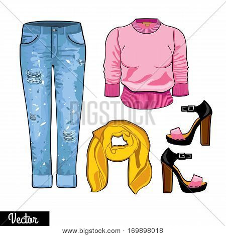 Illustration stylish and trendy clothing.  Jeans, shawl, sweater, jumper, high-heeled shoes.  Hipsters and casual fashion vector Illustration