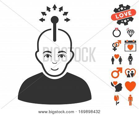 Optical Neural Interface pictograph with bonus romantic images. Vector illustration style is flat iconic symbols for web design app user interfaces.