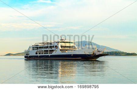 The ship in the Mediterranean Sea in Bari Italy